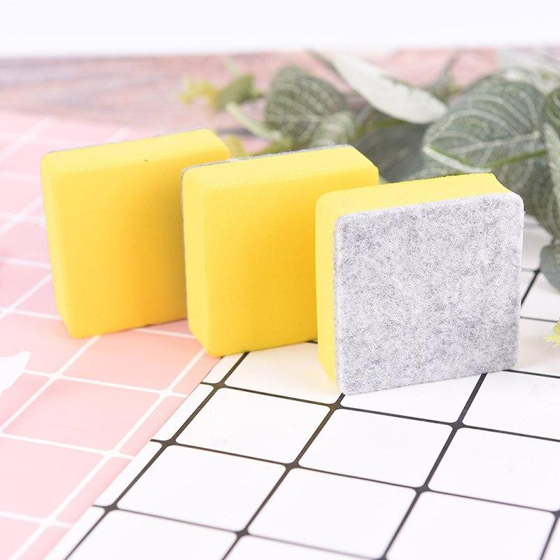 2 Pcs/lot 5.2*5.2*2CM Blackboard Whiteboard Cleaner Dry Marker Pen Foam Eraser Chalk Brushs Yellow