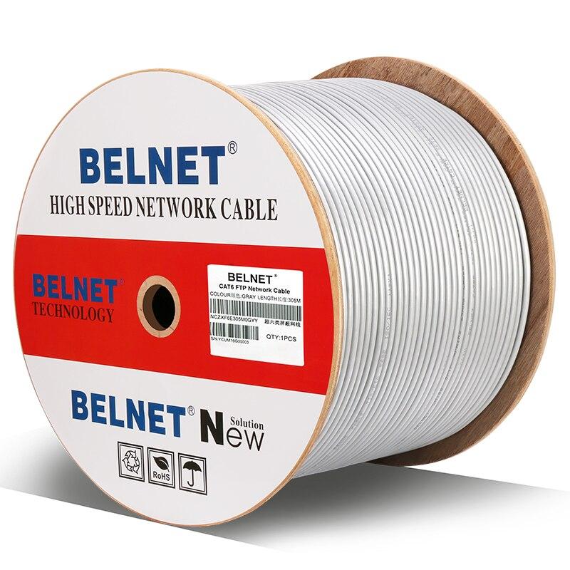 Câble réseau Ethernet BELNET Cat6 RJ45 FTP 23AWG cuivre 250 MHz 1000 Mbps câble Lan twistd paire passe Fluke Test 1000Ft 305 M gris