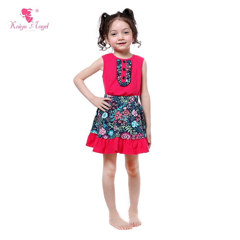 Kaiya Angel  New 2017 Spring Summer Kids Clothing Hot Pink Shirt Skirt 2 Pcs Suit Floral Print Fashion Baby Girls Clothes Outfit
