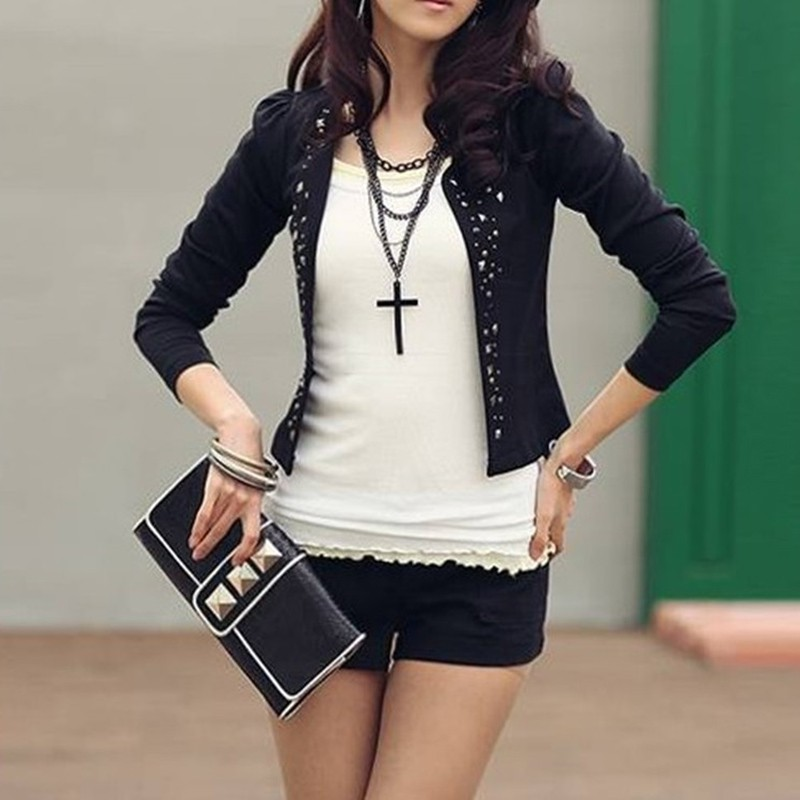Women Blazers and Jackets 2018 Spring Slim Fit Women Formal Jackets Office Work Open Front Rivet Ladies Blazer Coat