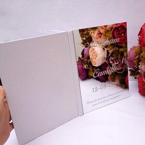 Image 2 - Kişiselleştirilmiş albüm ayna beyaz boş düğün İmza ziyaretçi defteri özel akrilik etiket konuk çek kitap parti dekor Favor