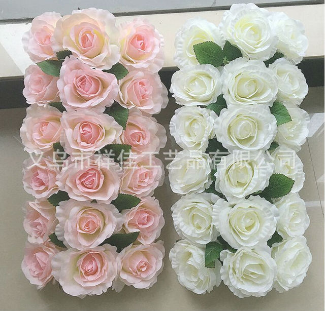 High Artificial Silk Rose White Pink Wedding Arch Flower Row Frame
