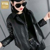Новинки для женщин корейский стиль свободные из овечьей кожи мужской пиджак блейзер из натуральной овечьей кожи куртка черный воротник сто