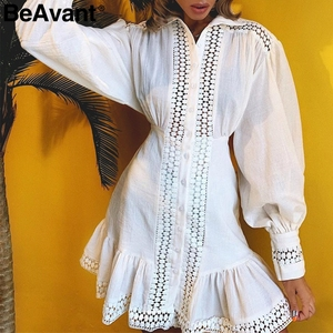 Image 2 - BeAvant 화이트 코튼 드레스 여성 우아한 랜턴 슬리브 겨울 드레스 인어 라인 여성 가을 드레스 vestidos