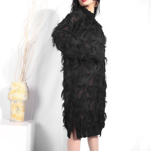 Image 5 - [EAM] 2020 New Spring Autumn Stand Collar Long Sleeve Black Perspective Split Joint Big Size Dress Women Fashion Tide JI78