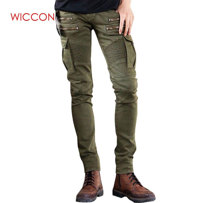 Green Black Denim pants Biker   jeans   Mens Skinny 2019 Runway Distressed slim elastic   jeans   hiphop Washed trousers for male 28-42