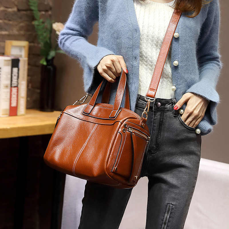 Kobiety torba na zakupy prawdziwej skóry kobiet torba torebka moda styl skóry wołowej duża pojemność skrzynki duży rozmiar panie ramię T48