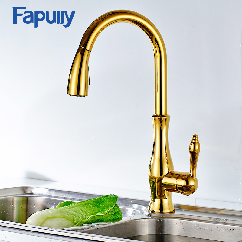 Fapully Kitchen Faucet Mixer Pull Out Down Deck Mounted Kitchen Faucet Mixer Cold And Hot Deck Mounted Faucet Taps 207-33N