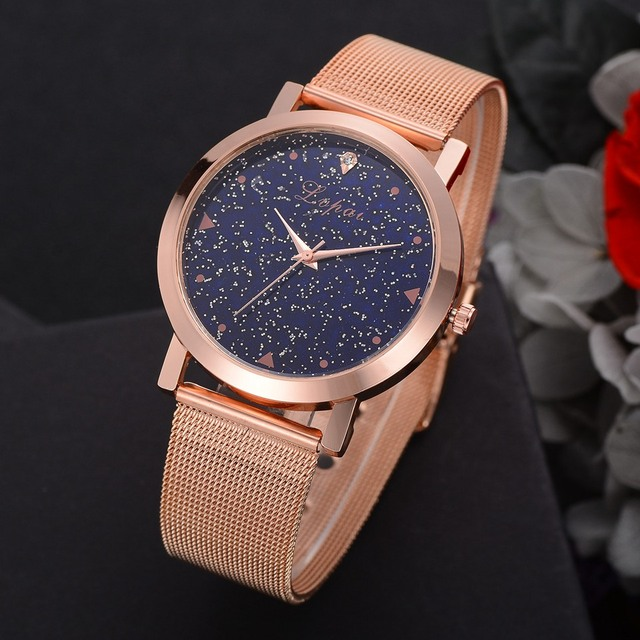 Luxury Gold Women's Steel Quartz Rose Bracelet Watch