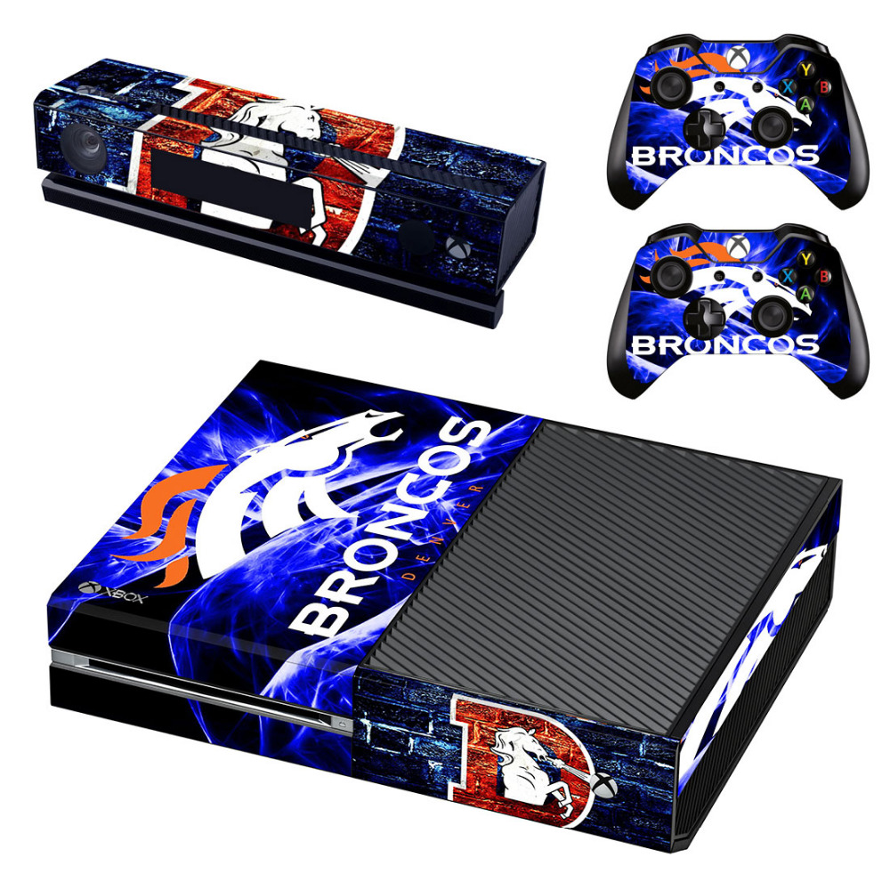 NFL Denver Broncos Decal Skin Sticker for Microsoft Xbox One Kinect and Console and 2 Controllers Vinyl Game Stickers