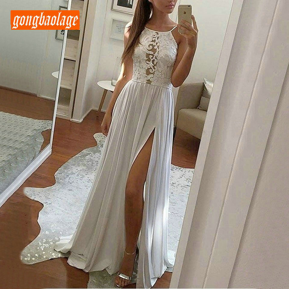 Belle bohème ivoire longue robe de mariée 2019 Sexy BOHO robe de mariée Scoop en mousseline de soie dentelle dos nu Chic plage mariée robes fête