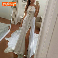 Lovely Bohemian Ivory Long Wedding Dress 2019 Sexy BOHO Wedding Gown Scoop Chiffon Lace Backless Chic Beach Bride Dresses Party