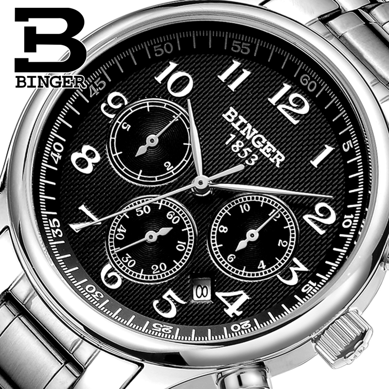 Genuine Luxury Switzerland BINGER Brand Men full steel automatic mechanical Self Wind Sapphire business watch waterproof цена