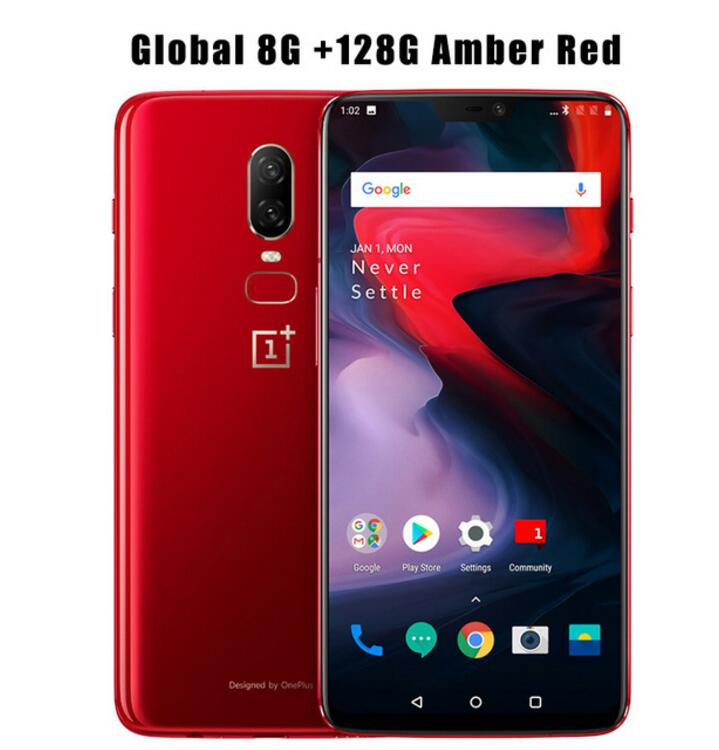 "6.28"" Oneplus 6 8GB 128GB Snapdragon 845 Octa Core Face Unlock Android 8.1 4G Mobile Phone 20MP+16MP Dual Camera NFC Fingerprint"