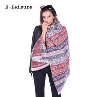 Для женщин коричневый Одеяло шарф женский плащ кисточкой шарф полосатый пончо зимой пашмины шали и Шарфы WSF029