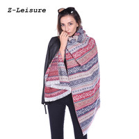 Women Brown Blanket Scarf Female Cape Tassel Scarf Striped Poncho Winter Pashmina Shawls And Scarves WSF029