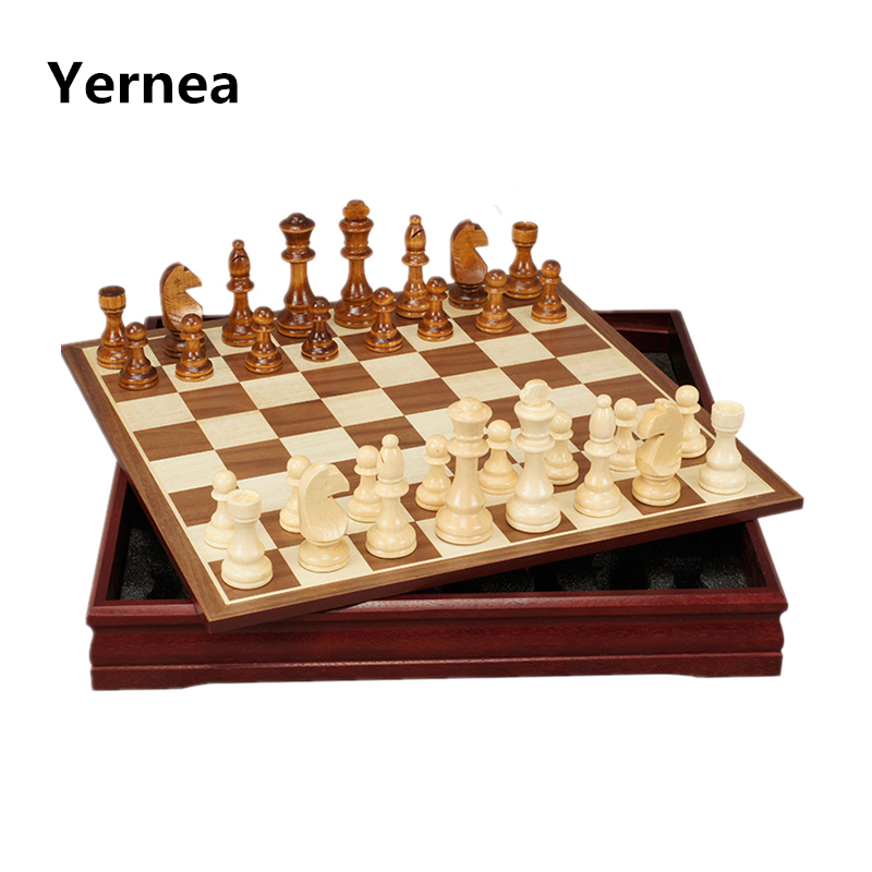 New P[attern Chess Pieces Wood Wood Coffee Table Professional Chess Board  Family Games Chess