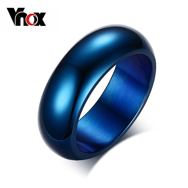 Vnox Blue Rings 316L Stainless Steel Rings Engagement Wedding Bands For Men Wome