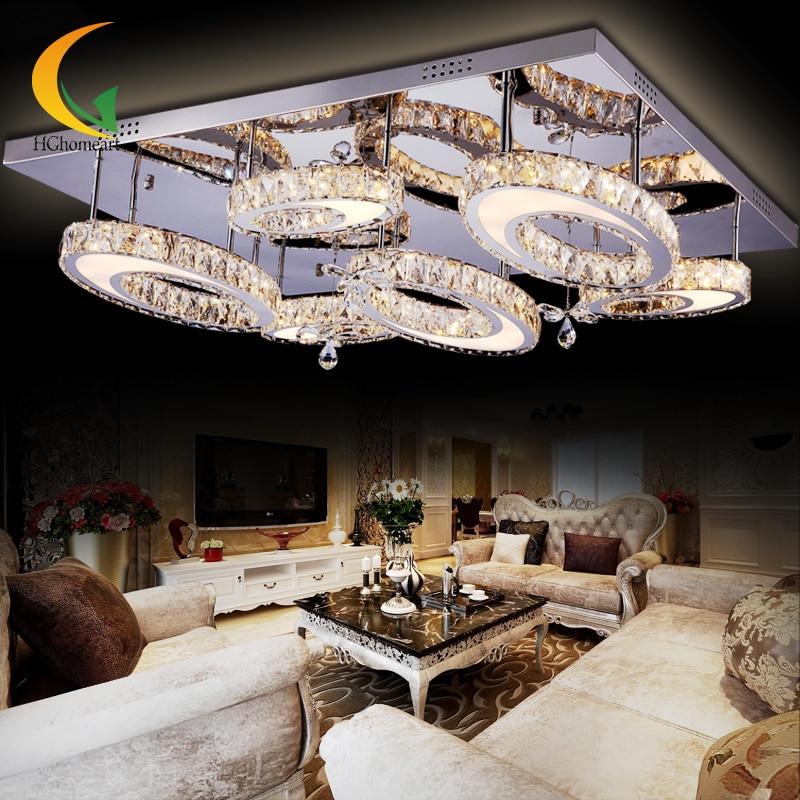 Three dazzling crystal lamp rectangular living room lights LED ceiling lamps creative modern minimalist bedroom lamp