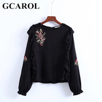 GCAROL New Arrival Embroidery Floral Women Blouse Ruffles Female Smock  Elastic Cuff Autumn Winter Black Tops
