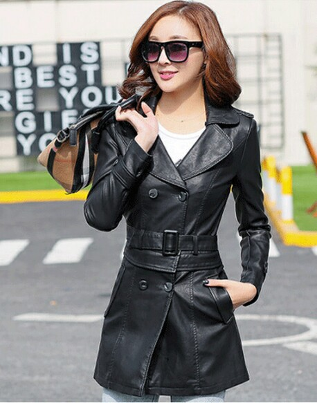 Кожаный Тренч, женские тонкие повседневные пальто, верхняя одежда, женская одежда для работы, весенняя и осенняя кожаная куртка для женщин, стиль - Цвет: black