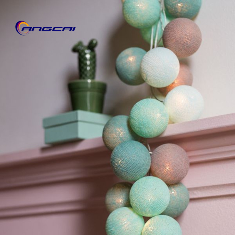 Turquoise+mint+sky Blue+light Gray Mix Cotton Ball String Lights Bedroom Fairy Nursery Night Light Garland Holiday