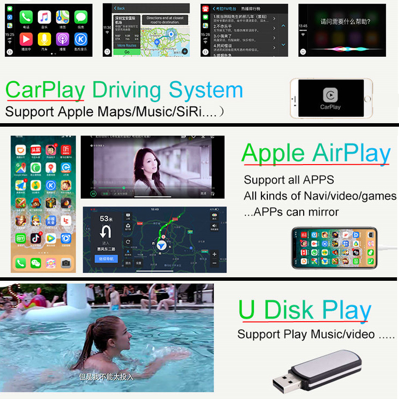 Sinairyu Wireless Apple Carplay Solution for Audi A3 3G/3G MMI with Reverse  Camera for Audi