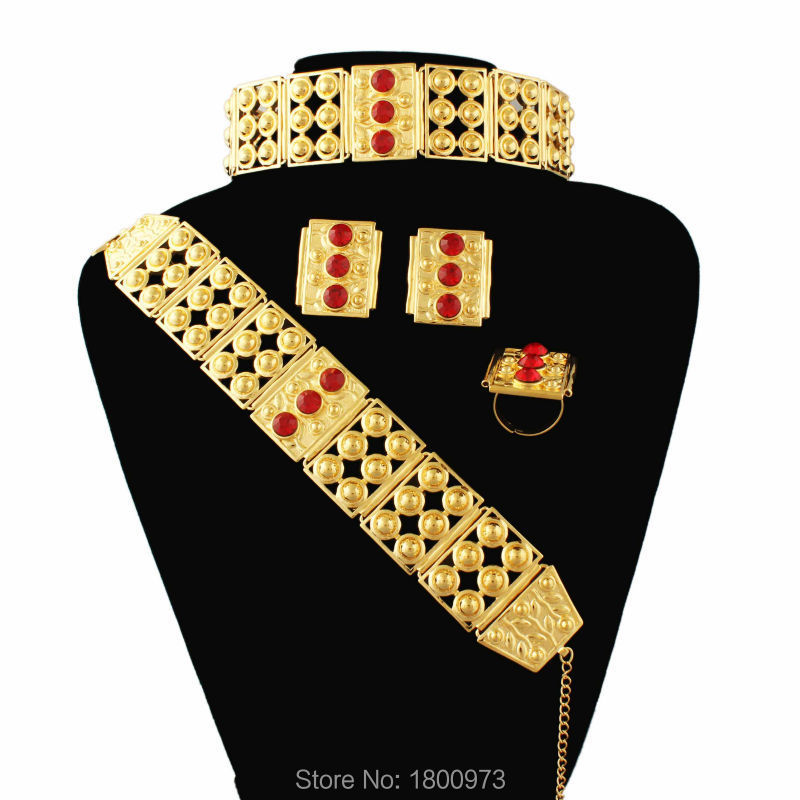 Newest Big Size and Heavy Ethiopian wedding jewelry sets For Women Gold Filled Habesha Jewelry African