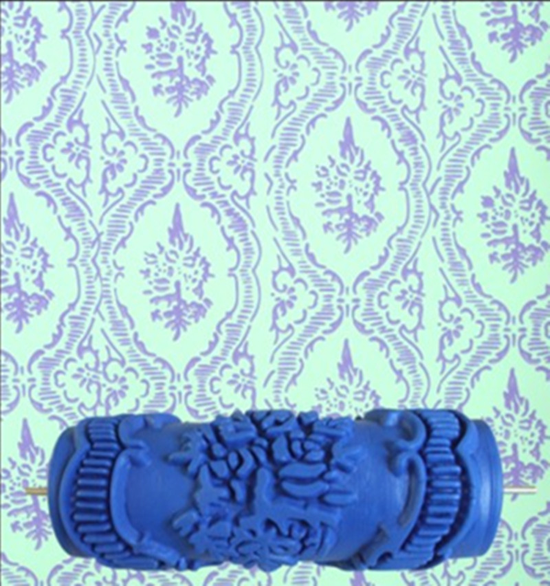 Hot model pattern 5inch 3D rubber decorative wall painting roller, wall  pattern design paint roller
