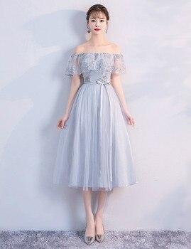 Grey Colour Wedding Party Dress  Bridesmaids Dresses Elegant Off The Shoulder Midi Dress Back of Bandage printing off the shoulder flounce dress