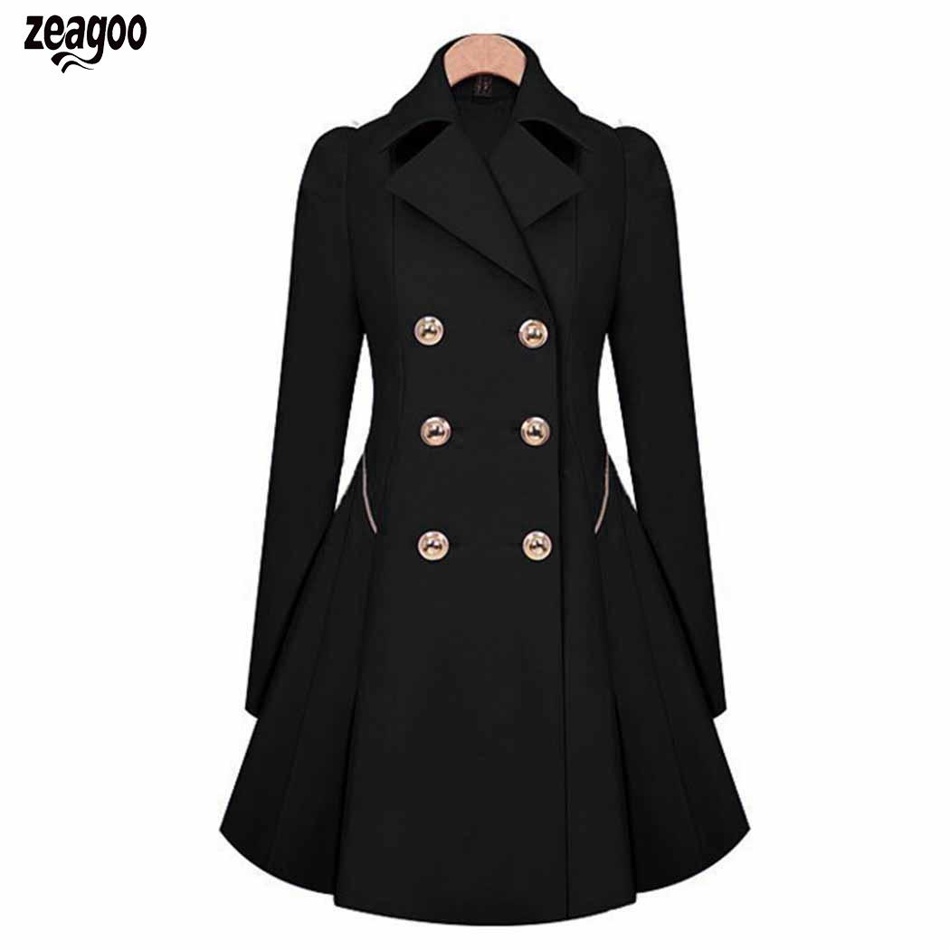 New Fashion Women Casual Turn-down Collar Solid A-Line Pleated Long Sleeve Button Hip Length Hem Windbreaker