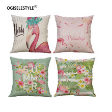 Ogiselstyle наволочка с цветочным рисунком Фламинго домашний декор автомобиля диван стул наволочка на диване хлопок лен Bedromm Декор подарок