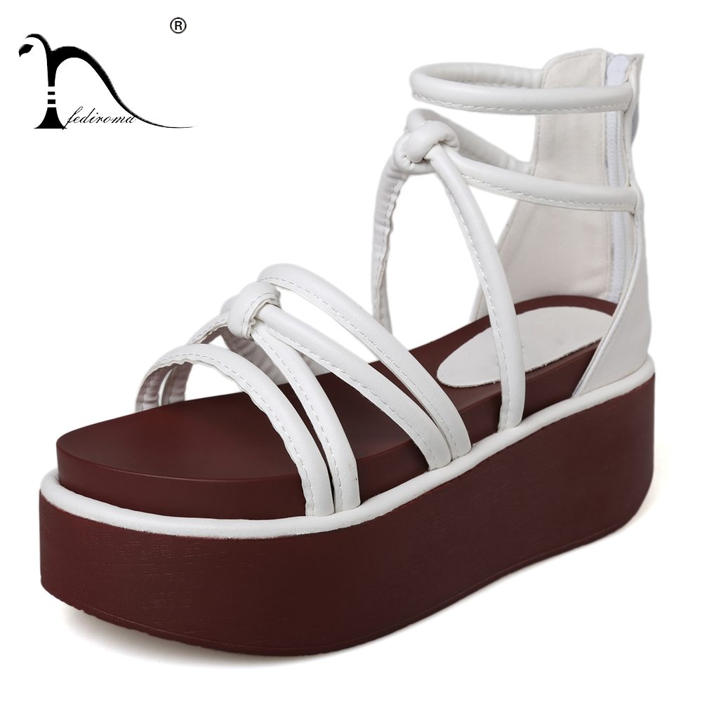 FEDIROMA Woman Wedges Sandals Summer Gladiator Shoes Peep-toe Waterproof Ankle Sandals Lace-up Hollow Beach Shoes Size 34-42 yaerni women gladiator sandals wedges heel platform peep toe summer style shoes for woman