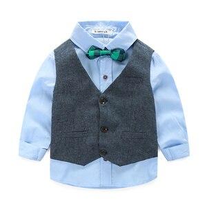 Image 5 - בגדי ילדי בגדי ילדי אדון אפוד + חולצה + מכנסיים ועניבה מסיבת בגדי בני תינוק בגדים בנים חדשים 3 יח\סט