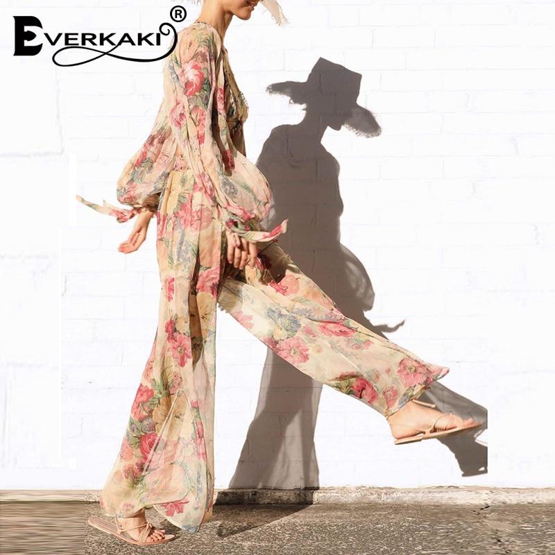 Everkaki Floral Print Long   Pants   Women Gypsy Elastic Waist Loose Transparent Boho   Wide     Leg     Pants   Bottoms Female 2019 Autumn New