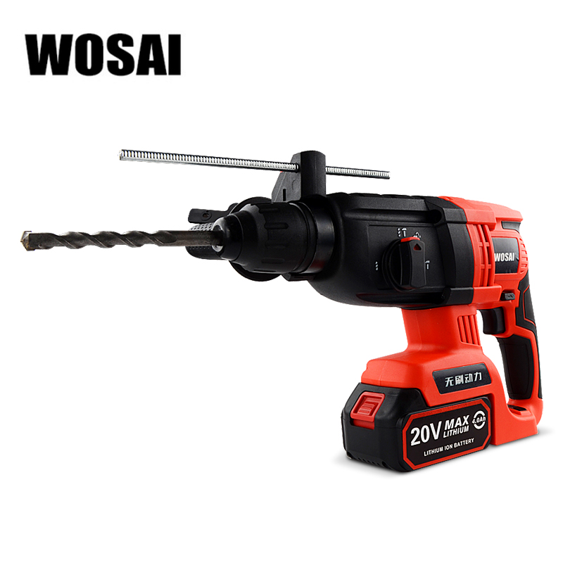WOSAI 20V Electric Impact Drill Rotary Hammer Brushless Motor Cordless Hammer Electric Drill Electric Pick for Switch Freely wosai 6pcs electric drill