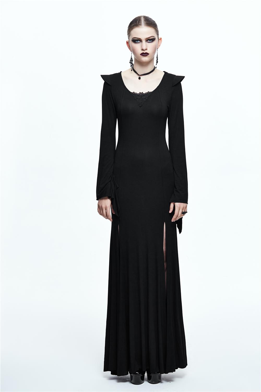 c66c7f4e683 Punk Witch Maxi Dress Black Long Sleeve Hoodie Dress Side Split Sexy ...