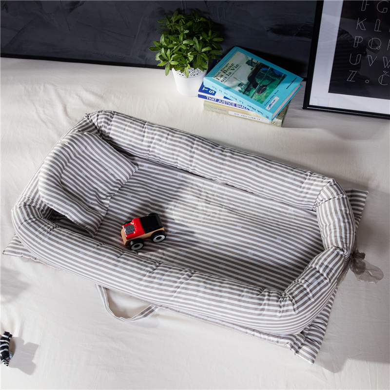 High-quality cotton Fabric foldable sleeper portable kids bed soft striped Newborn baby crib baby product цена