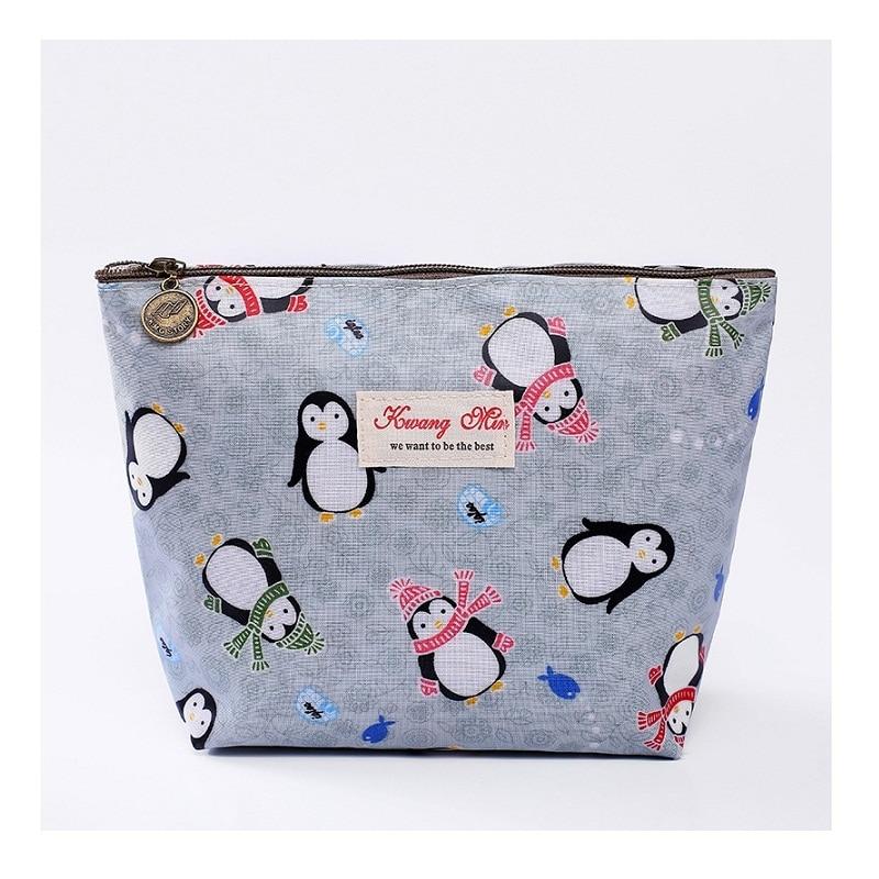 2019 Women Waterproof Toiletry Cosmetic Bag Cotton Make Up Bag Stuff Organizer Zipper Pouch Penguin Cosmetic Case  Dropshipping