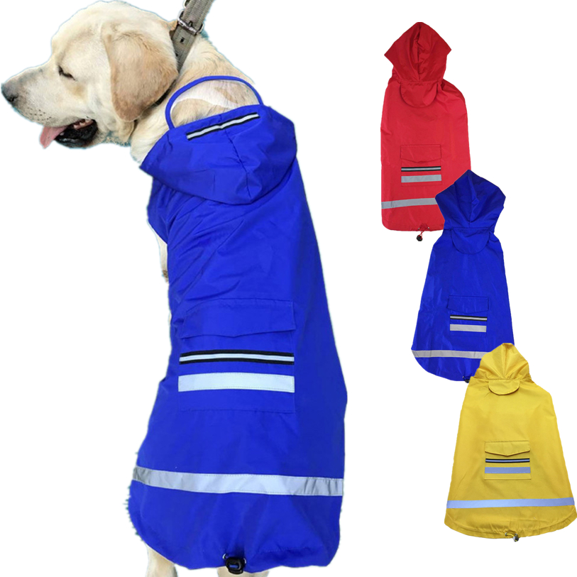 Pet Products Dog Clothing & Shoes Tireless 3xl-5xl Raincoat For Dogs Outdoor Reflective Dog Raincoat Waterproof Hooded Cloak Summer Clothes For Dogs Dropshipping 40at14