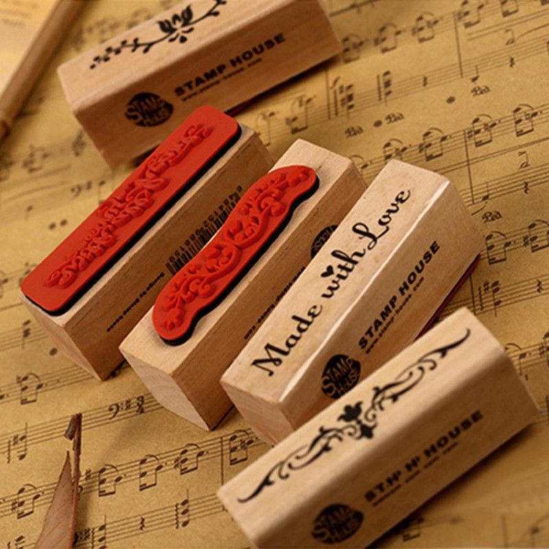 DIY Handmade Photo Album Scrapbook Strip Wooden Rubber Stamp Vintage Kids Students Stamps Arts Crafts Gifts