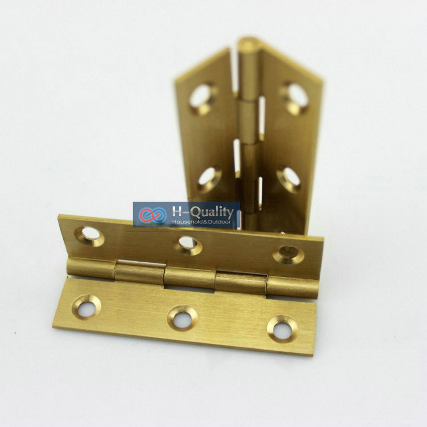 Free Brass Screws 10PC/Lot Beatiful Wire Drawing Surface 3 Inch (75MM) Length Solid Fresh Brass Door Hinges Hardware