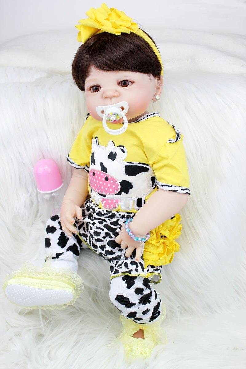 55 см всего тела силикона Reborn Baby Doll игрушки, реалистичные 22 дюймов новорожденных принцесса для маленьких девочек младенцев кукла подарок на ...