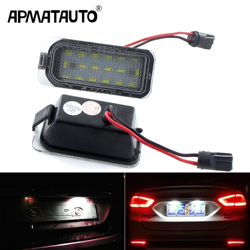 2pcs LED Licence Number Plate lights White 6000K LED Rear Lamps Assembly for J-aguar XJ XF Fiesta F-ocus S-MAX Grand C-max M-ondeo K-uga Galaxy