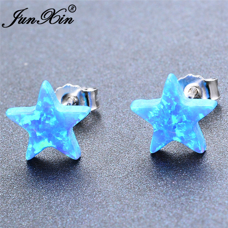 Cute Small Star Stud Earrings White Gold White Blue Fire Opal Earrings For Women Wedding Minimalist Earring Studs Jewelry