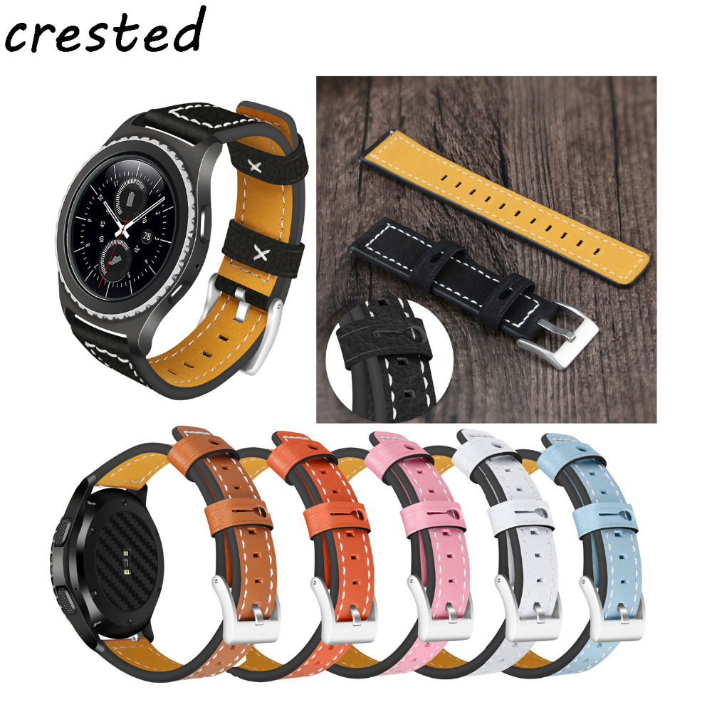 CRESTED Genuine Leather watch band 22mm for samsung gear s3 leather bracelet watchbands replacement watch strap crested genuine leather strap for samsung gear s3 watch band wrist bracelet leather watchband metal buck belt