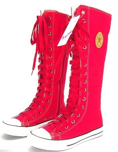 Red Manresar 2017 New Fashion 7Colors Women's Canvas Boots Lace Zip Knee High Boots Women Boots Flats Casual Tall Punk Shoes цена и фото