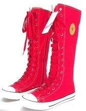 Rouge manresar 2017 nouvelle mode 7 couleurs femmes de toile bottes dentelle Zip Genou Haute Bottes Femmes Bottes Appartements Haut Occasionnel Punk chaussures
