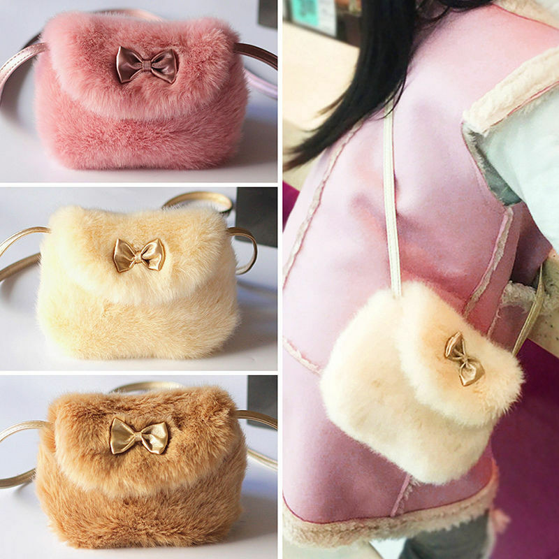 New Girls Kids Purse Bowknot Mini Fur Toys Plush Bag Handbags Cute Girls School Handbag