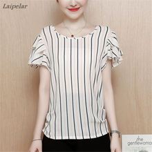 New Summer Top Blouses 2018 Women Striped Short Sleeve Shirt Chiffon Blouse off shoulder top Casual Loose Plus Size Blusas Femme off the shoulder striped top
